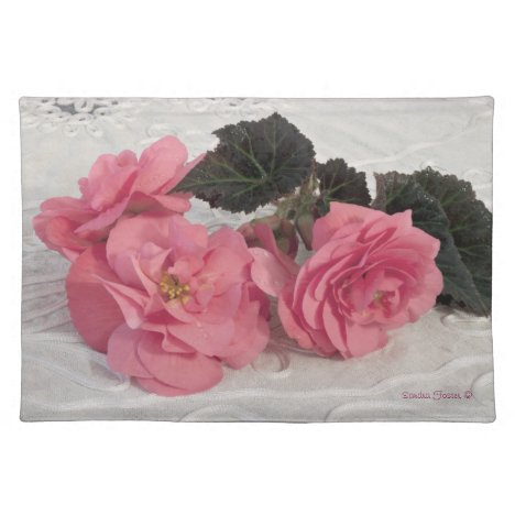 Pink Begonia Flowers Place Mat