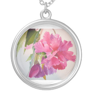 Pink Begonia Watercolor Necklace