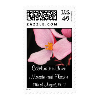Pink Begonia Wedding Stamp