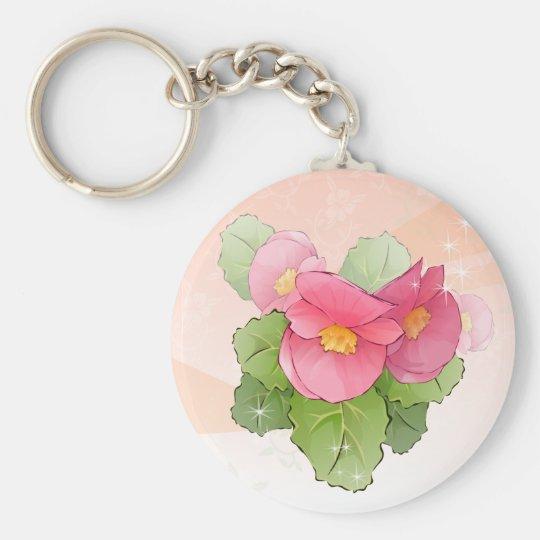 Pink begonias keychain