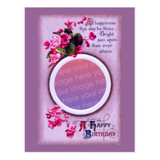 Pink Begonias Vintage Birthday Frame Postcard