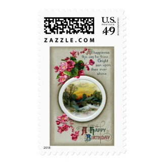 Pink Begonias Vintage Birthday Vignette Stamp