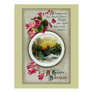 Pink Begonias Vintage Birthday Vignette Postcards