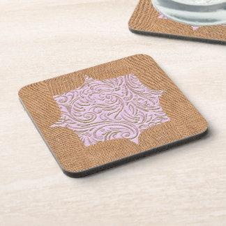 Pink Beige Color Vintage Scrollwork Burlap Design Beverage Coaster