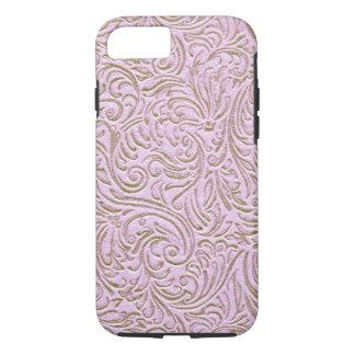 Pink Beige Color Vintage Scrollwork Graphic Design iPhone 8/7 Case