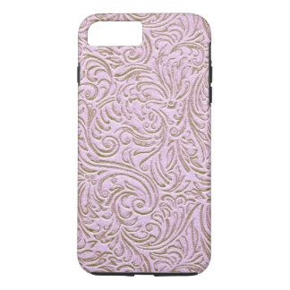 Pink Beige Color Vintage Scrollwork Graphic Design iPhone 8 Plus/7 Plus Case