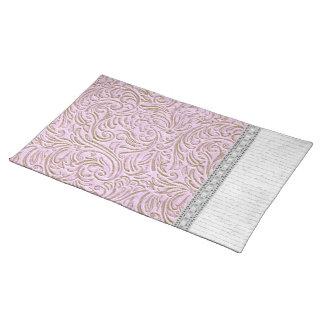 Pink Beige Color Vintage Scrollwork Letter Lace Cloth Placemat