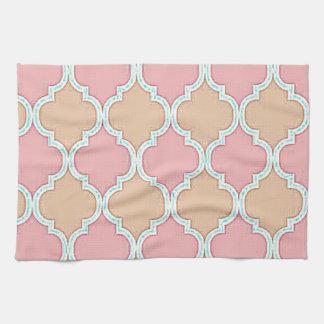 Pink Beige Moroccan Trellis Pattern Kitchen Towels