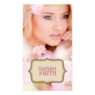 Pink & Beige Photo Business Card