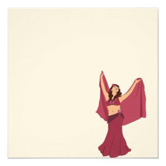 "Pink Belly Dancer 5.25"" Square Invitation Card"