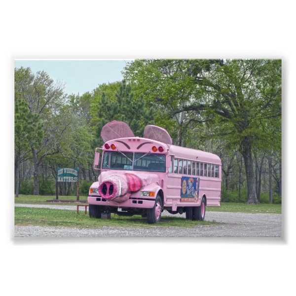 Pink Ben Wheeler, Texas, Hogfest Bus Photo Print