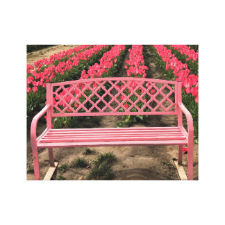 Pink Bench with Pink Tulips Canvas Print