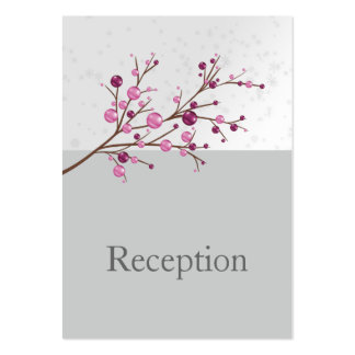 pink berries elegant winter Reception Cards Business Card Template
