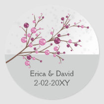 pink berries  winter wedding favor stickers