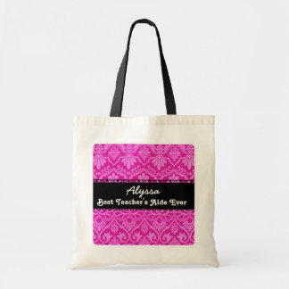 Pink Best Teacher 's Aide Ever Custom Name 2 Tote Bag