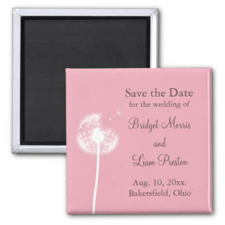 Pink Best Wishes! Save the Date 2 Inch Square Magnet