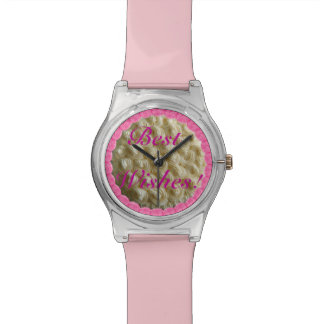 Pink Best Wishes White Frosted Wedding Cake Watch
