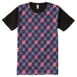 Pink Beveled Diamond Cube Lattice Geometric Mosaic All-Over-Print Shirt