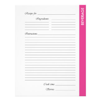 Pink BEVERAGE 2-sided Recipe Pages