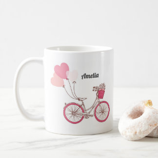 Pink Bicycle and Heart Balloons Personalized Mug