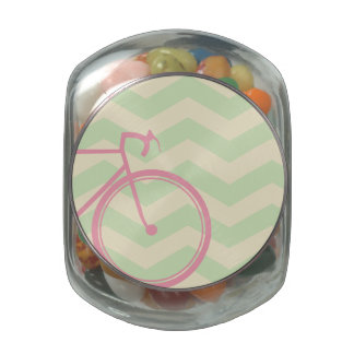 Pink bicycle Chevron Jelly Belly Candy Jar