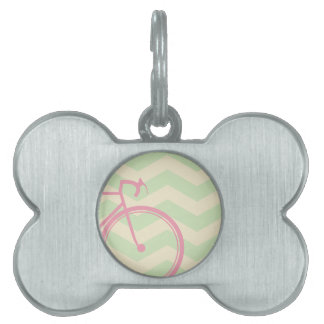 Pink bicycle Chevron Pet ID Tag