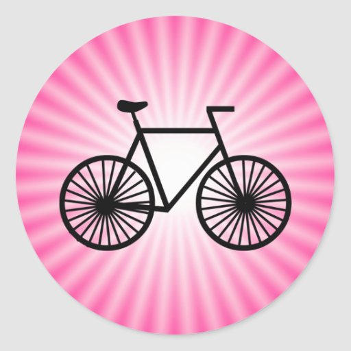 Pink Bicycle Classic Round Sticker