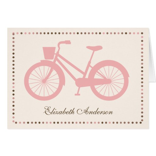 Pink Bicycle Folded Note Cards