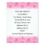 "Pink Bicycle Pattern. 4.25"" X 5.5"" Invitation Card"