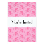 "Pink Bicycle Pattern. 5"" X 7"" Invitation Card"