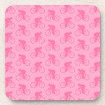 Pink Bicycle Pattern. Beverage Coaster