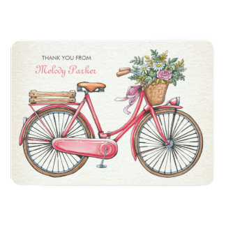 Pink Bicycle Personalized Notecard