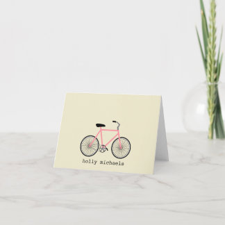 Pink Bicycle Personalized Notecards