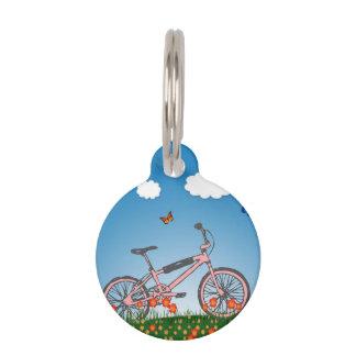 Pink bicycle pet ID tag