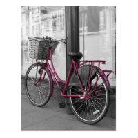 Pink bicycle postcard