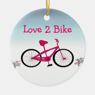 Pink Bicycle with Cute Saying Ceramic Ornament