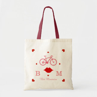 pink bicycle with initials and name personalized tote bag