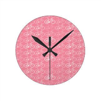 pink bicycles pattern round clock