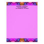 pink biege blue  pattern letterhead design