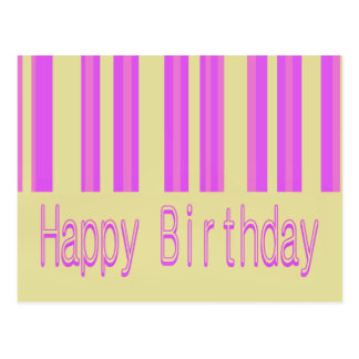 pink biege happy birthday postcard
