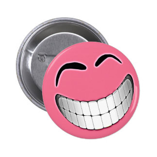 Pink Big Grin Smiley Face Button