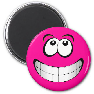 Pink Big Grin Smiley Face Fridge Magnets