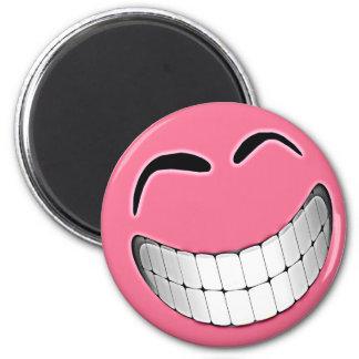 Pink Big Grin Smiley Face Magnet