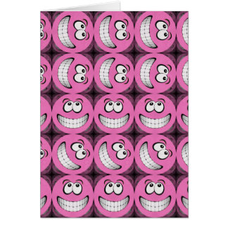 Pink Big Grin Smiley Faces Collage Cards