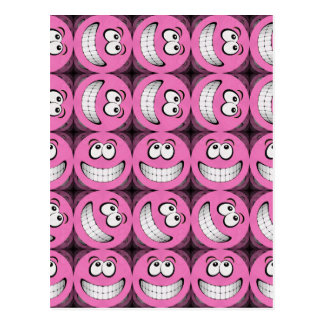 Pink Big Grin Smiley Faces Collage Postcard
