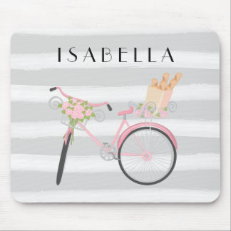 Pink Bike with French Bread and Gray Watercolor Mouse Pad