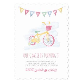 Pink Biking Birthday Invitation with soft colors