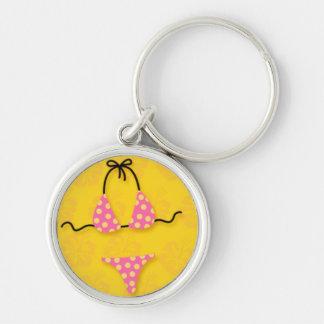 Pink Bikini on Yellow Keychain