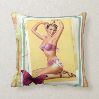 "Pink Bikini Pin Up Girl Throw Pillow 16"" x 16"""