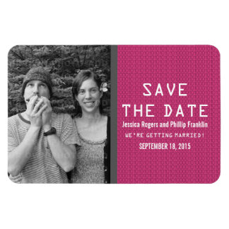 Pink Binary Code Photo Save the Date Magnet